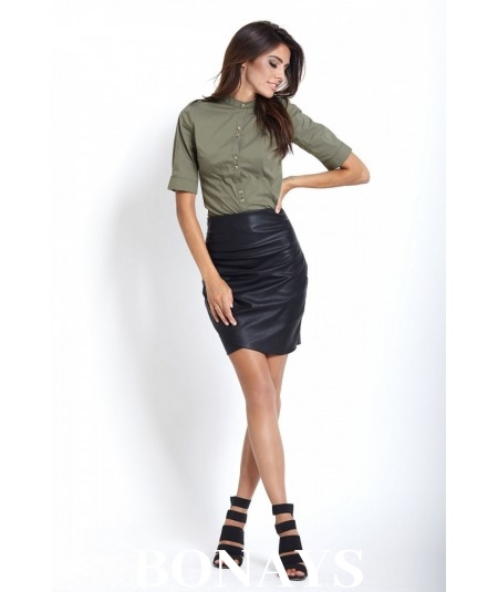 Skórzana spódnica z zakładkami - Sally - czarna