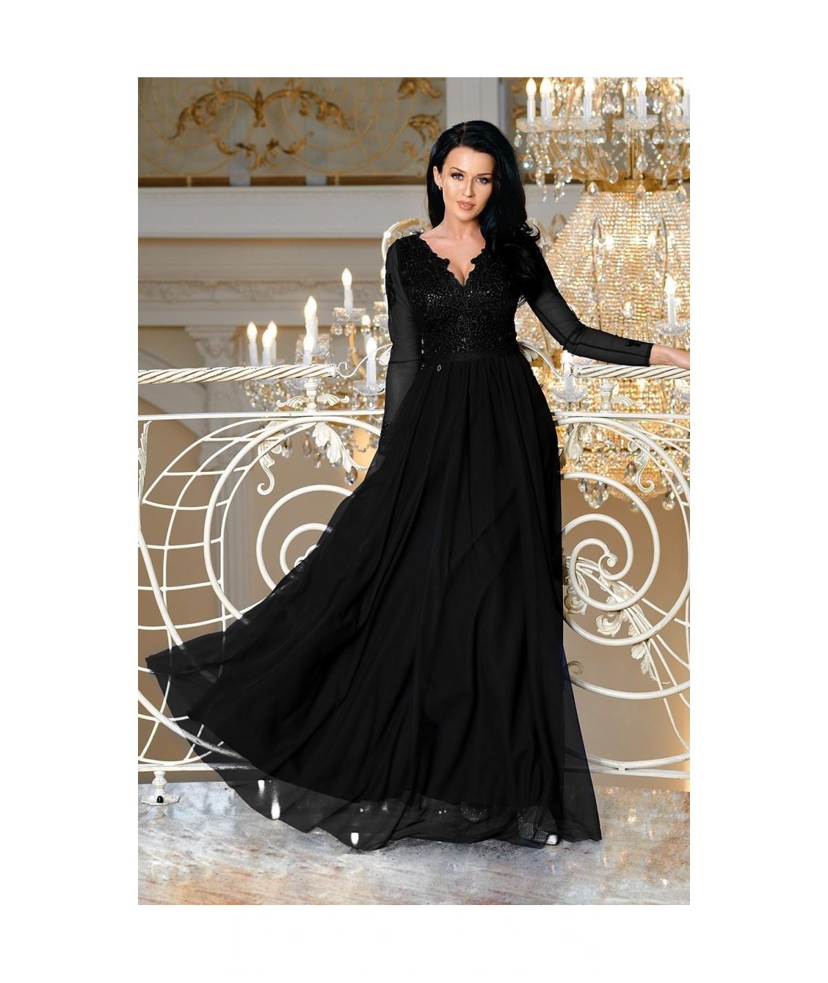Czarna sukienka MAXI na wesele STAR