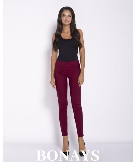 Eleganckie, wygodne spodnie długie damskie - Conon bordowe