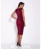 Bordowa dopasowana sukienka Dursi