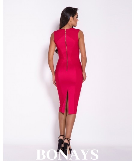Malinowa dopasowana sukienka Dursi - Lara
