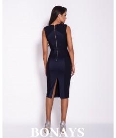 Ołówkowa sukienka z wstawkami i zamkiem  LARA- malinowa