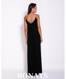 Długa, elegancka sukienka na łańcuszku Inez - czarna