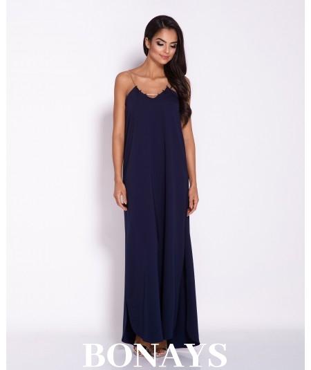 Długa, elegancka sukienka na łańcuszku Inez - granat