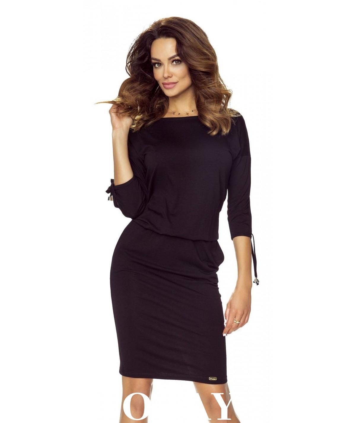 czarna sukienka dzienna - venus model marki bergamo