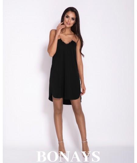 Czarna oversizowa luźna sukienka na łańcuszku ELLEN