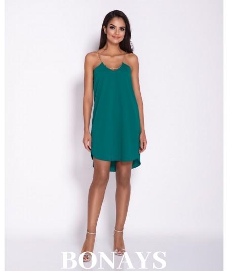 Zielona oversizowa luźna sukienka na łańcuszku ELLEN