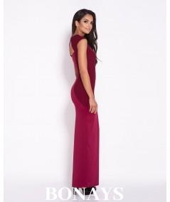 Bordowa dopasowana sukienka maxi Dursi