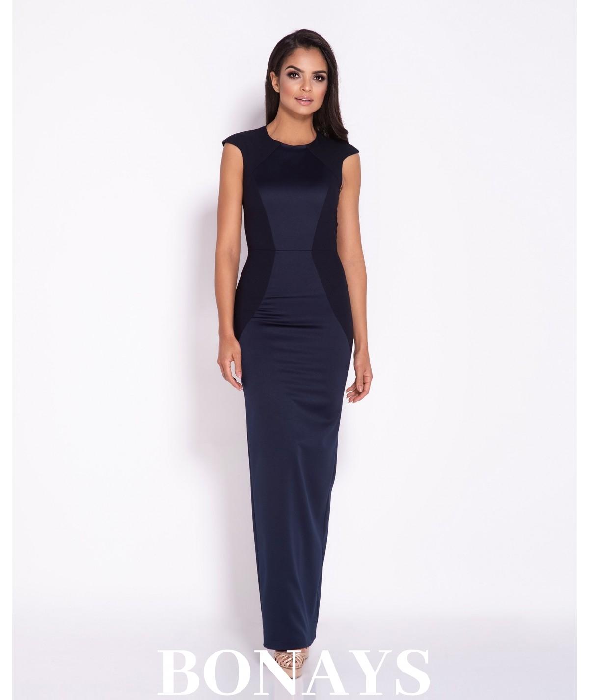 Granatowa dopasowana sukienka maxi Dursi