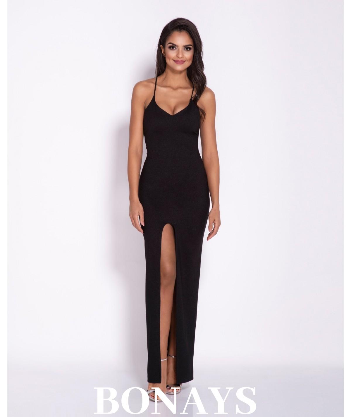 Sukienka MAXI długi rozporek, dekolt na plecach - Divan czarna