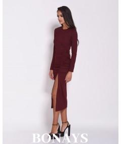 Dopasowana sukienki MIDi - malaga bordowa