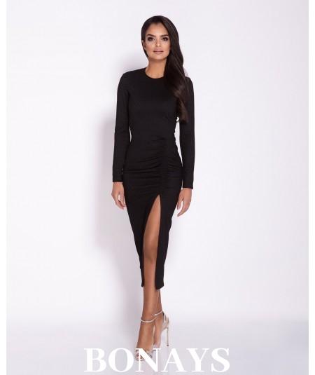 Sukienka MIDI Malaga z rozcięciem -długi rękaw czarna