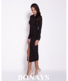 Dopasowana sukienki MIDi - malaga czarna