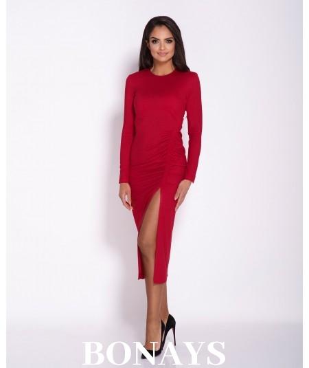 Sukienka MIDI Malaga z rozcięciem -długi rękaw czerwona