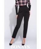 Długie, eleganckie spodnie - wysoki stan - czarne