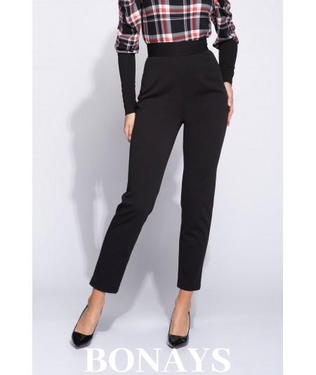 Eleganckie czarne spodnie damskie z wysokim stanem Abbey