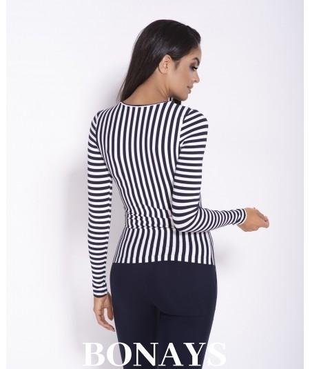 basicowa bluzka damska w pionowe paski dursi