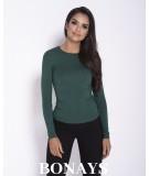 Dopasowana, prosta bluzka Base - zielona