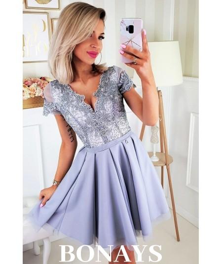 koktajlowa sukienka z koronką i tiulem Lottie - szara