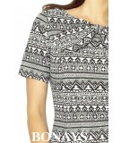 Ołówkowa sukienka z wiązaniem przy dekolcie Multikolor