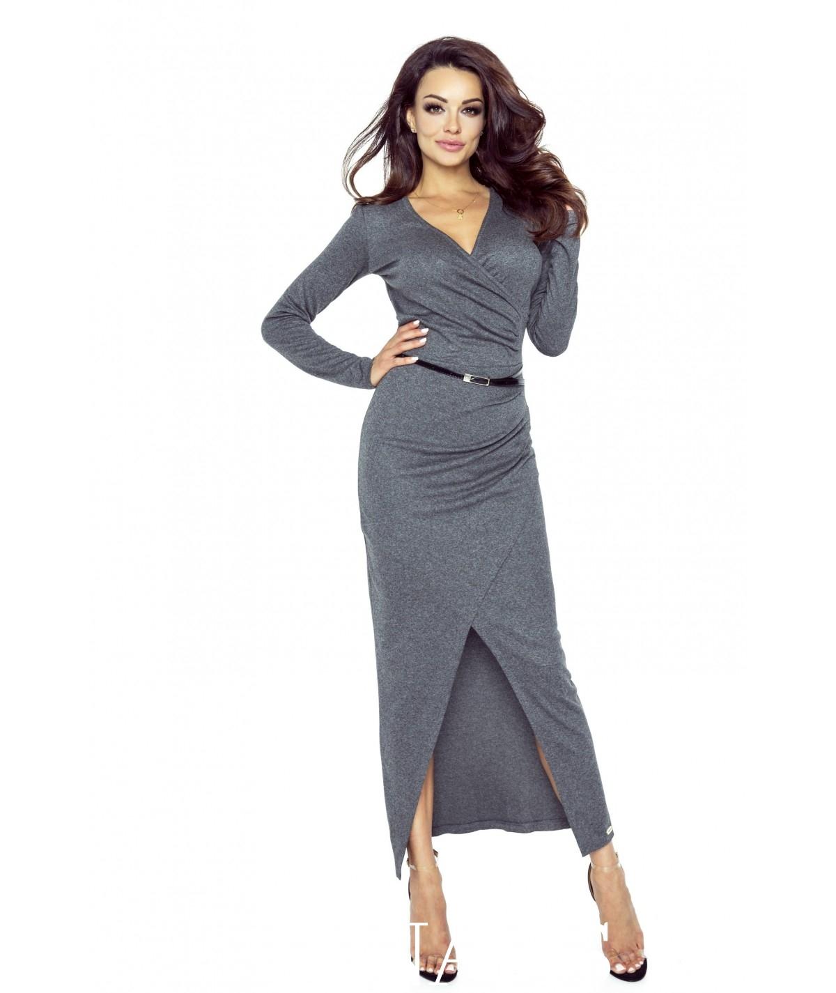Sukienka midi z zakładką, dopasowana z długim rekawem