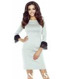 beżowa sukienka o lekko dopasowanym fasonie bergamo model pilar