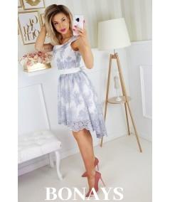 Koronkowa sukienka z trenem - Veronica - szara