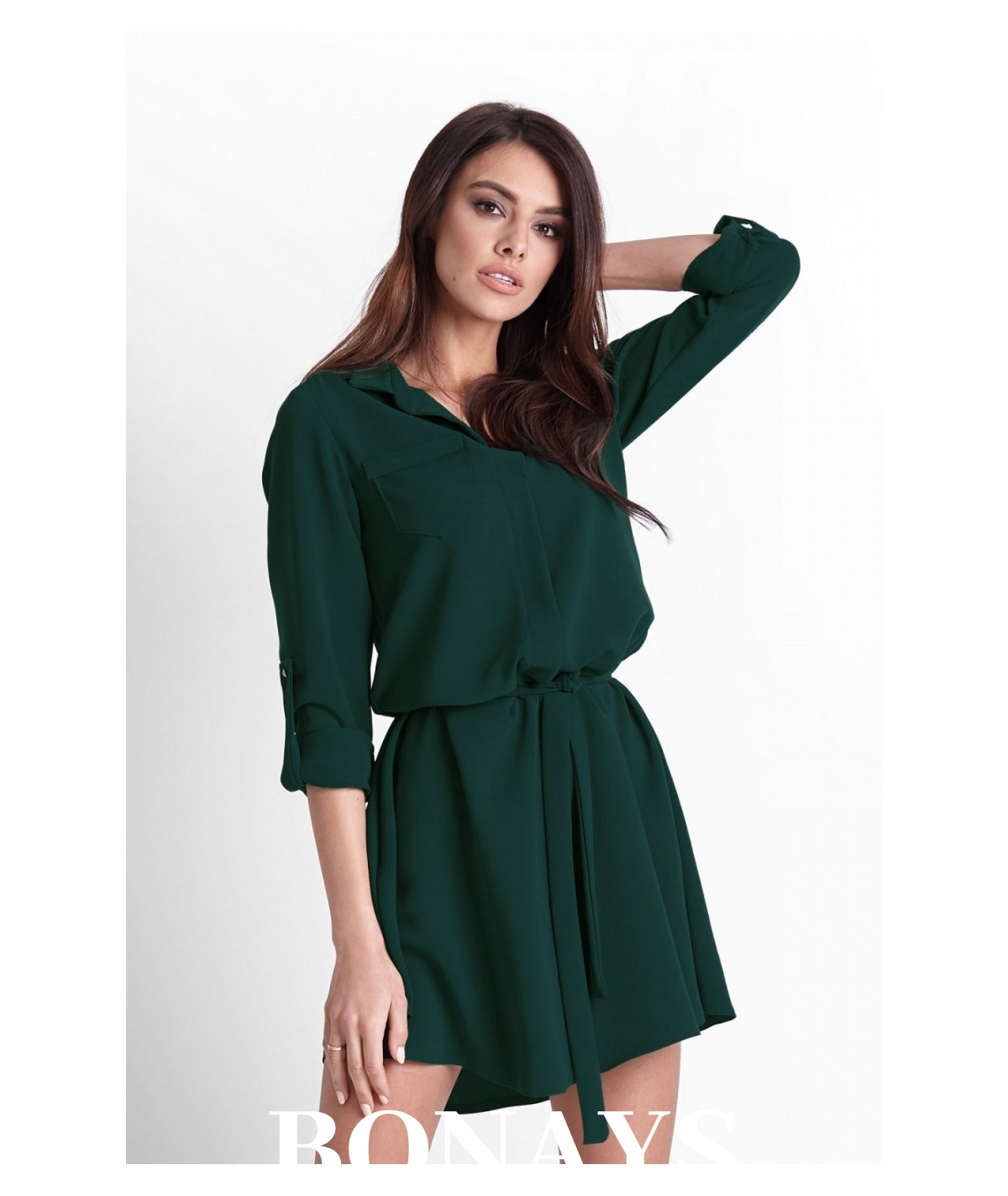 koszulowa sukienka damska, rozkloszowana wiosenna