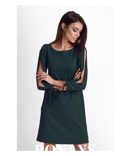 Trapezowa sukienka DIVA z pęknięciem na ramieniu - zielona