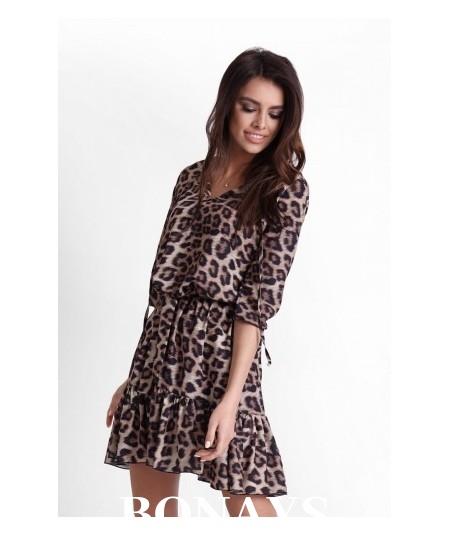 dzienna sukienka w panterkę ramira ivon
