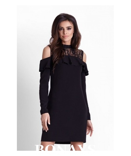 Prosta, luźna sukienka z długim rękawem - Buena - czarna