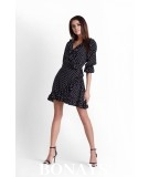 Kopertowa sukienka w groszek - czarna MAYA