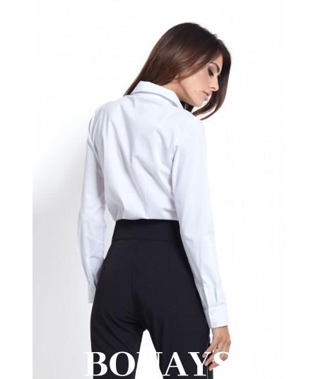Elegancka biała koszula z bawełny z kieszonką