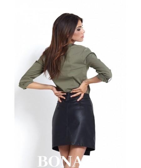 bawełniana taliowana koszula damska khaki - IVON