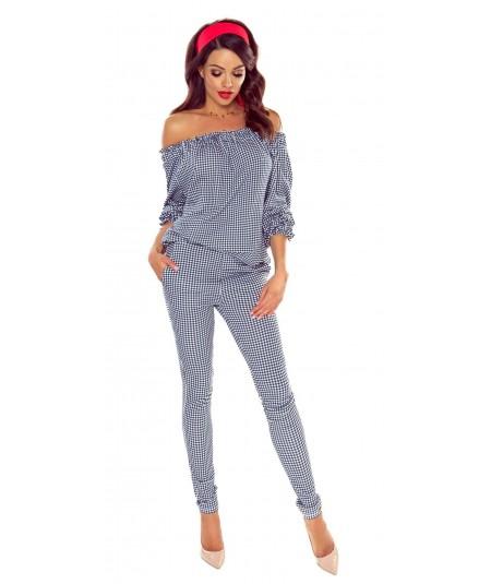 Elastyczne spodnie w kratę - niebieske