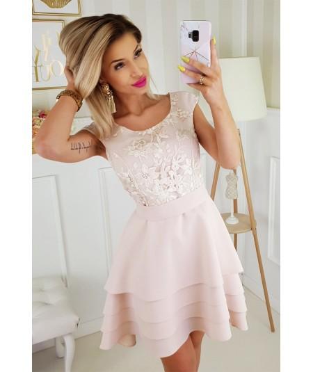 Koktajlowa sukienka z falbankami i koronką - Juliett - beżowa
