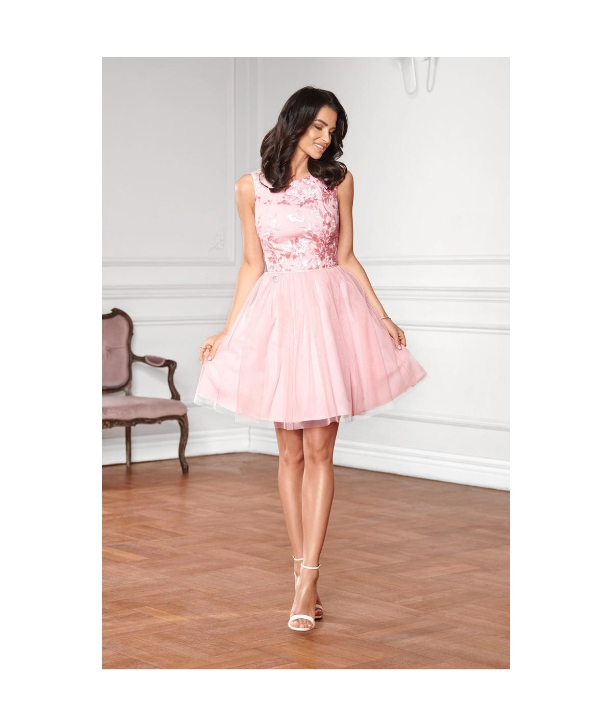 Koktajlowa sukienka z koronką i tiulową spódnicą - Jeny - malina
