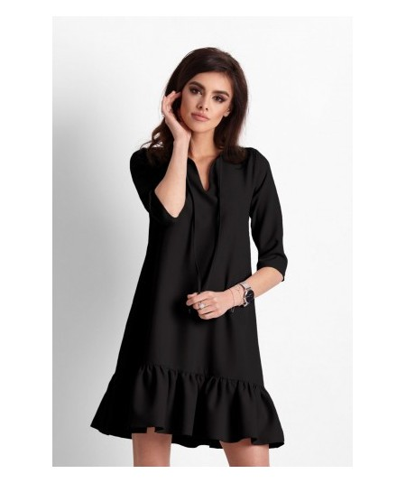 Trapezowa sukienka zakończona falbanką - Elvira - czarna