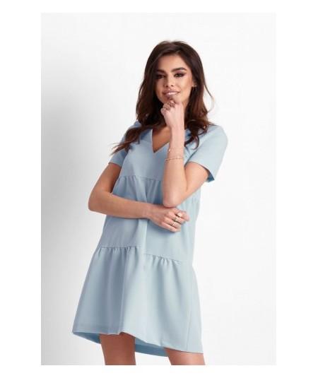 Oversizowa sukienka o trapezowym kroju - Lola - niebieska