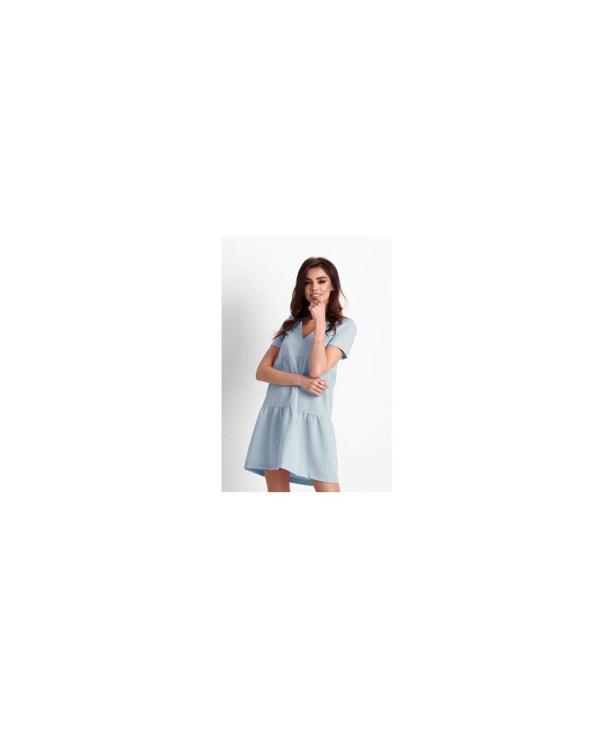 c40e488d672fa6 Oversizowa sukienka o trapezowym kroju - Lola - niebieska