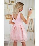 Rozkloszowana, elegancka sukienka - różowa