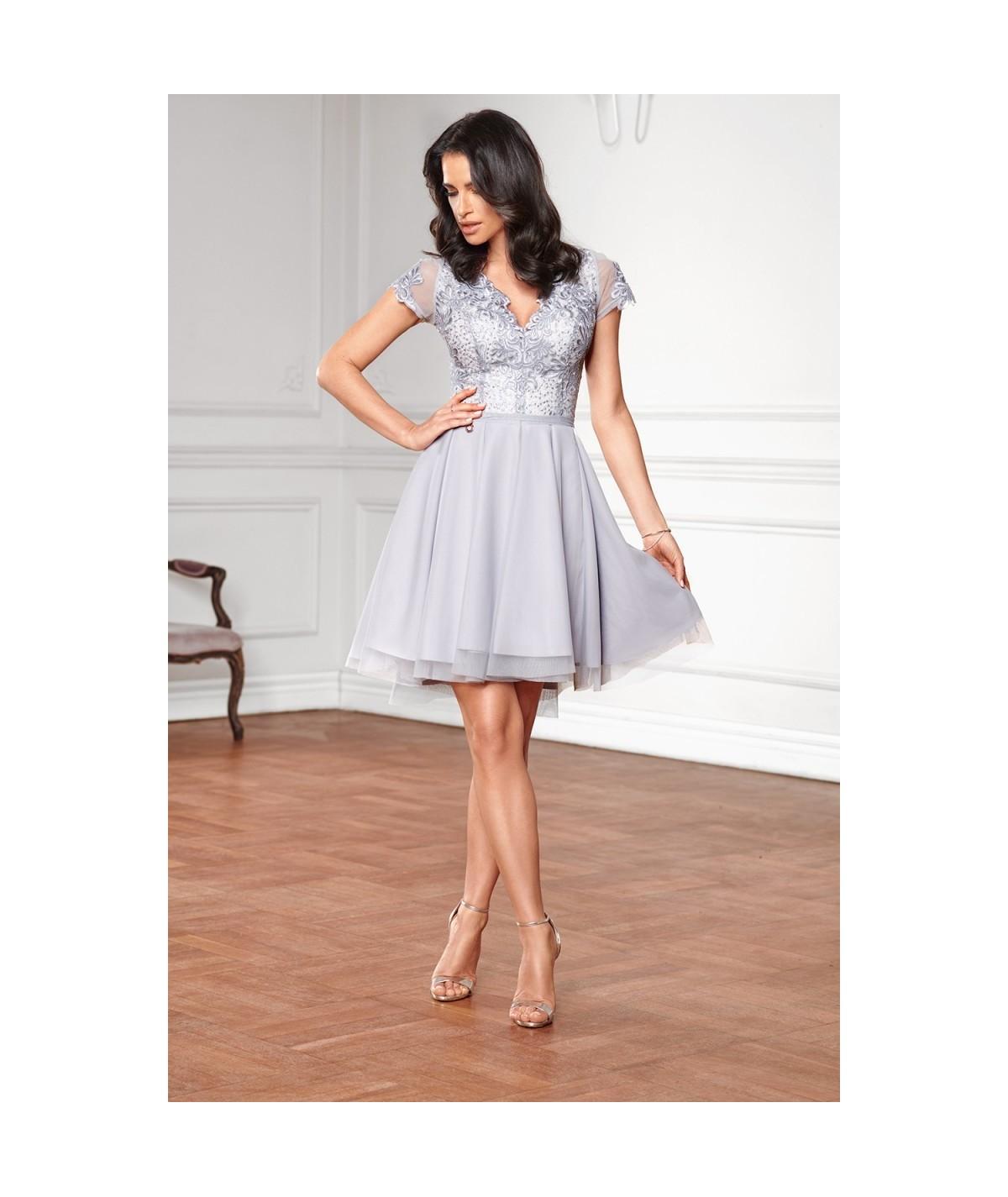 919b45d1f9 Nowy Obniżka! koktajlowa sukienka z koronką i tiulem Lottie - chaber