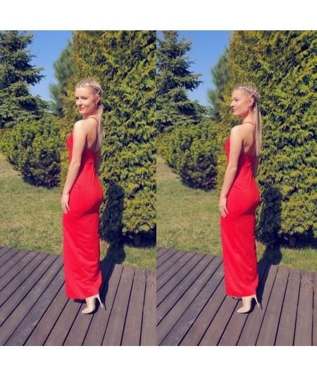 Czerwona dopasowana sukienka maxi - dursi