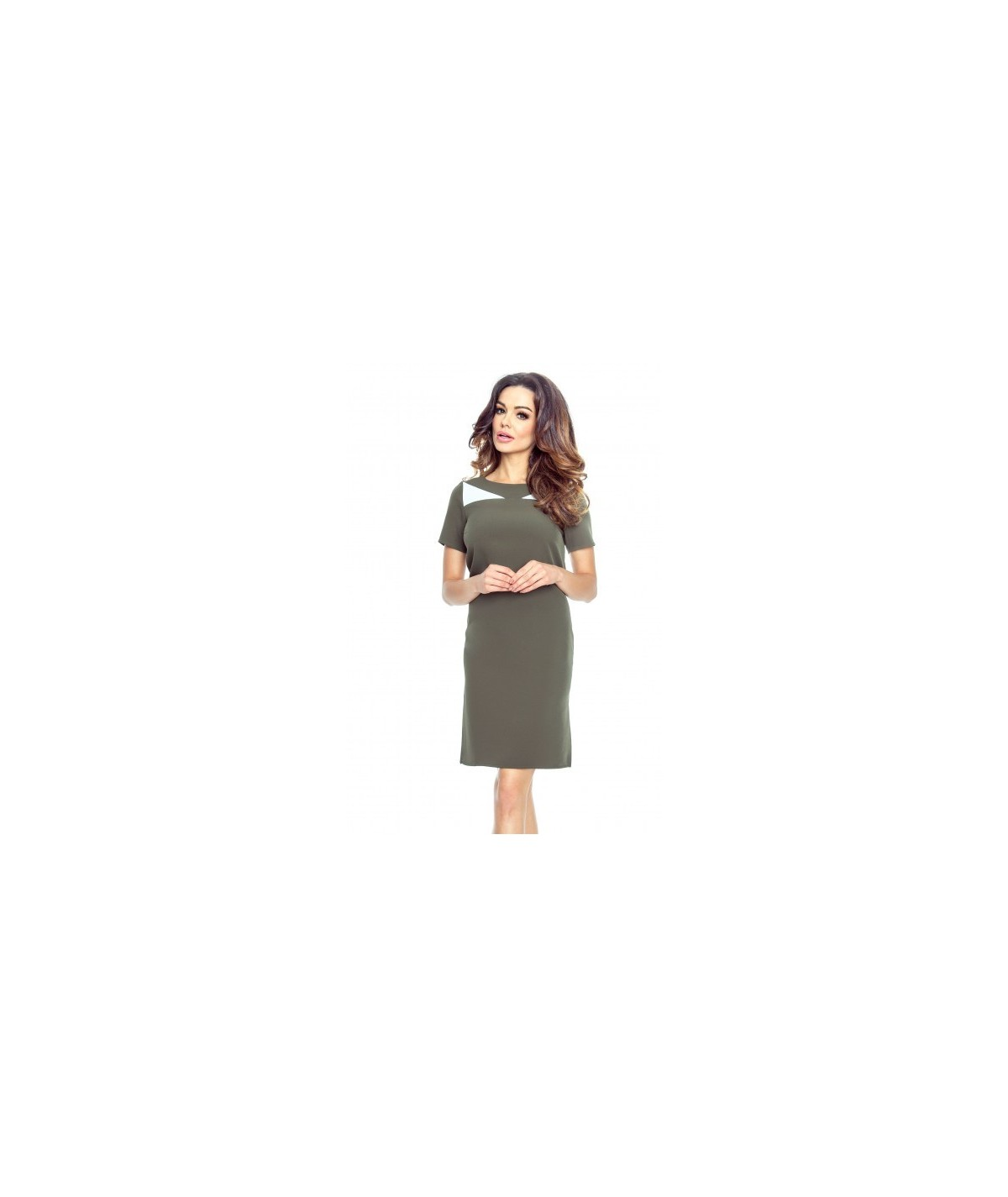 Trapezowa sukienka do pracy - zielona