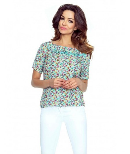 Elegancka bluzka damska z falbanką - print Amelia