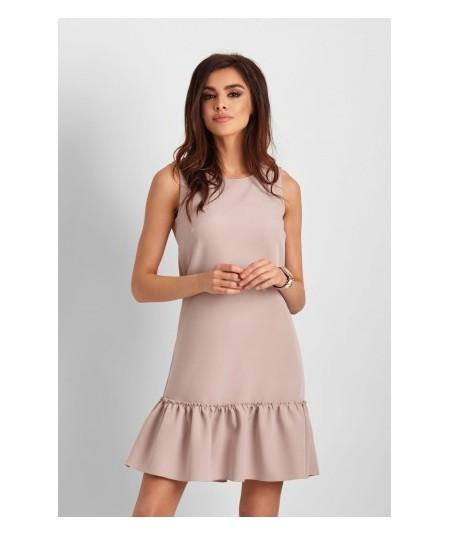 Beżowa prosta sukienka zakończona falbanką LORENA