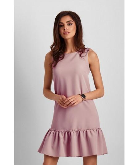 Prosta sukienka zakończona falbanką - Lorena brudny róż
