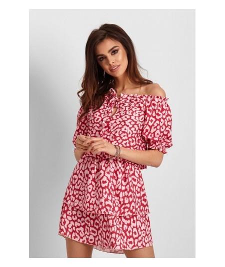 Dziewczęca sukienka z krótkim lekko bufiastym rękawem