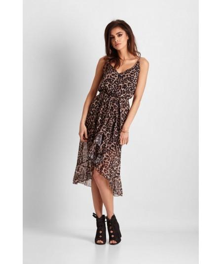 Asymetryczna sukienka Midi w panterkę - Ariana cienkie ramiączka