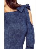 Sukienka z pęknięciem na ramieniu CHICA - granatowa